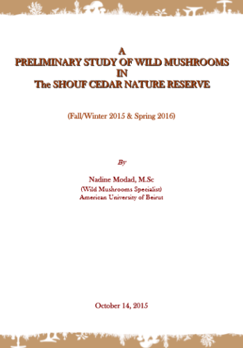 Preliminary Study of Wild Mushrooms in the Shouf Cedar Nature Reserve - cover